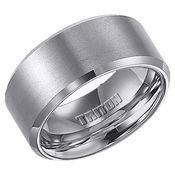 Triton 10mm Grey Tungsten Carbide Ring with Beveled Edges