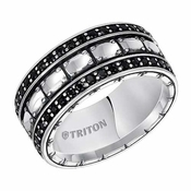 Triton 10mm Sterling Silver Ring with Black Sapphires
