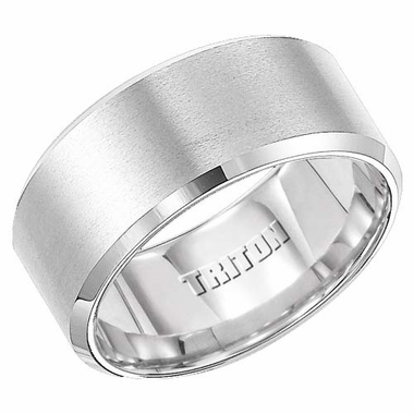 Triton 10mm White Tungsten Carbide Ring with Beveled Edges