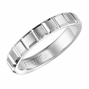 Triton 4mm White Tungsten Carbide Ring with Vertical Slots