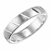Triton 5mm White Tungsten Carbide Ring with Diagonal Cuts