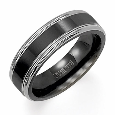 Triton 6.5mm Gray and Black Titanium Ring