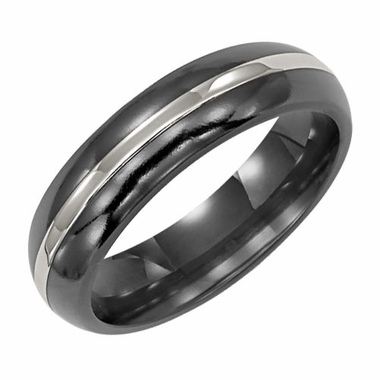 Triton 6mm Black Titanium Ring with 18K White Gold Inlay