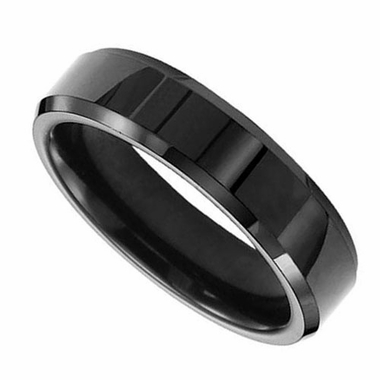Triton 6mm Black Tungsten Carbide Band with Beveled Edges