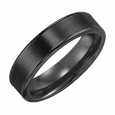Triton 6mm Dual Finish Black Tungsten Carbide Ring