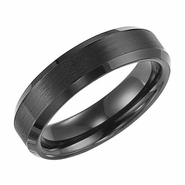 Triton 6mm Dual Finish Black Tungsten Carbide Ring with Beveled Edges