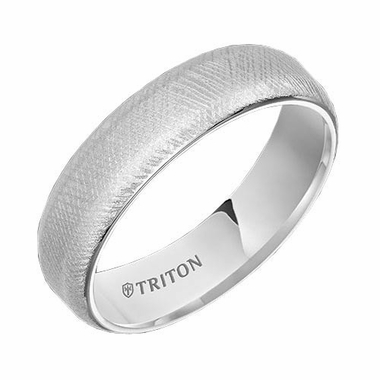 Triton 6mm Florentine White Tungsten Carbide Ring with Soft Beveled Edges