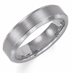 Triton 6mm Satin Tungsten Carbide Ring with Beveled Edges