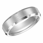 Triton 6mm Satin White Tungsten Carbide Ring with Beveled Edges