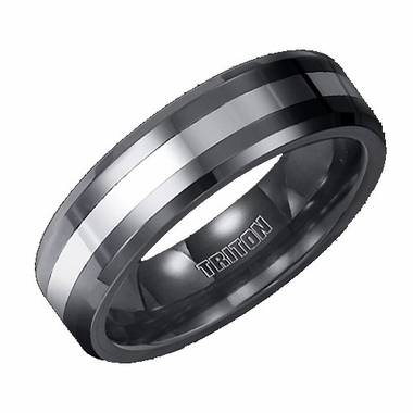 Triton 6mm Tungsten Carbide Band with Ceramic Inlay