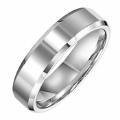 Triton 6mm White Tungsten Carbide Ring with Beveled Edges