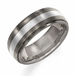 Triton 7.5mm Two Tone Titanium and Silver Ring