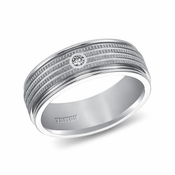 Triton 7.5mm White Tungsten Carbide Diamond Ring with Coin Texture