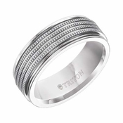 Triton 7.5mm White Tungsten Carbide Ring with Coin Texture