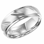 Triton 7.5mm White Tungsten Carbide Ring with Diagonal Cuts