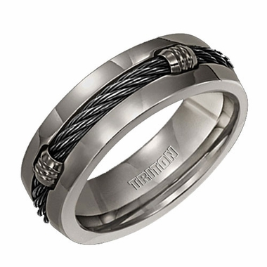 Triton 7mm Black Cable Titanium Ring with Barrels