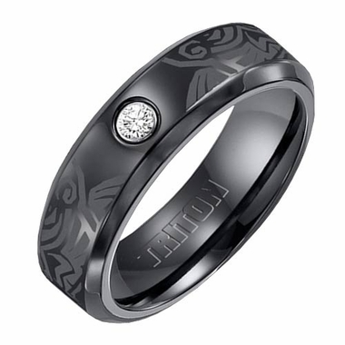 Triton 7mm Black Titanium Diamond Ring with Engravings