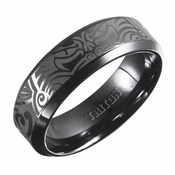 Triton 7mm Black Titanium Ring with Engravings