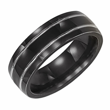Triton 7mm Black Titanium Ring with Grooves