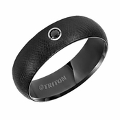 Triton 7mm Black Tungsten Carbide Black Diamond Ring