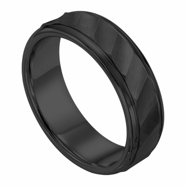 Triton 7mm Black Tungsten Carbide Ring with Brushed Waves