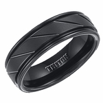 Triton 7mm Black Tungsten Carbide Ring with Diagonal Slots
