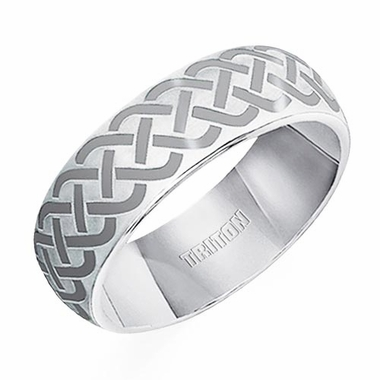 Triton 7mm Celtic Knot White Tungsten Carbide Ring