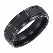 Triton 7mm Dual Finish Black Tungsten Carbide Ring with Vertical Cuts