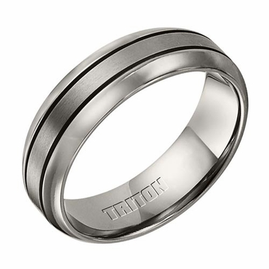 Triton 7mm Dual Finish Comfort Fit Titanium Ring with Grooves
