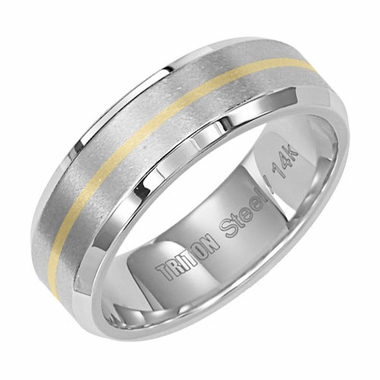 Triton 7mm Dual Finish Stainless Steel Flat Ring with 14K Yellow Gold Inlay