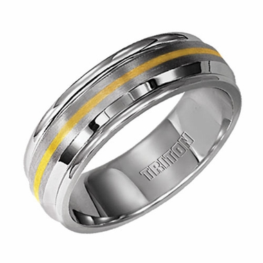 Triton 7mm Dual Finish Stainless Steel Ring with 14K Yellow Gold Inlay
