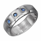 Triton 7mm Dual Finish Stainless Steel Ring with Sapphires