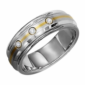 Triton 7mm Dual Finish Stainless Steel Three Diamond Ring with 14K Yellow Gold Inlay