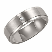 Triton 7mm Dual Finish Titanium Diamond Ring