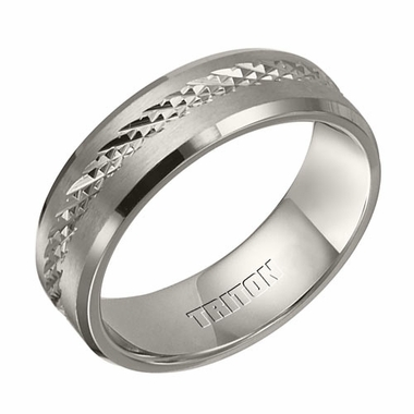 Triton 7mm Dual Finish Titanium Ring with Center Texture