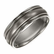 Triton 7mm Dual Finish Titanium Ring with Double Round Edges