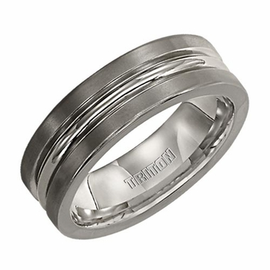 Triton 7mm Dual Finish Titanium Ring with Grooves