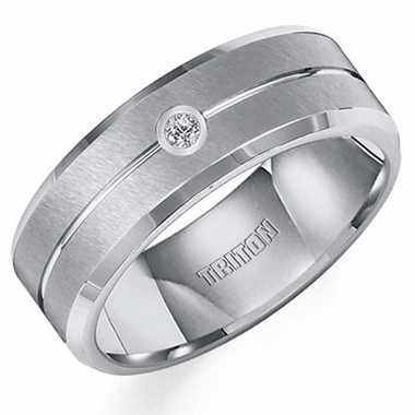 Triton 7mm Dual Finish Tungsten Carbide Diamond Ring with Beveled Edges