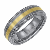 Triton 7mm Dual Finish Tungsten Carbide Ring with 18K Yellow Gold Inlay