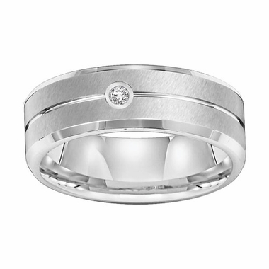Triton 7mm Dual Finish White Tungsten Carbide Diamond Ring