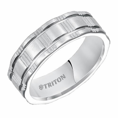 Triton 7mm Dual Finish White Tungsten Carbide Ring with Cuts