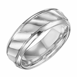 Triton 7mm Dual Finish White Tungsten Carbide Ring with Diagonal Waves