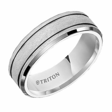 Triton 7mm Dual Finish White Tungsten Carbide Ring with Parallel Grooves