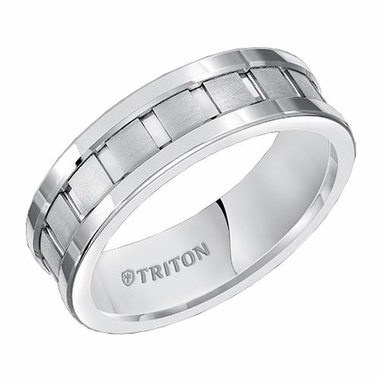 Triton 7mm Dual Finish White Tungsten Carbide Ring with Vertical Cuts
