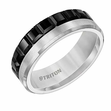 Triton 7mm Multi-Texture Black and White Tungsten Carbide Ring