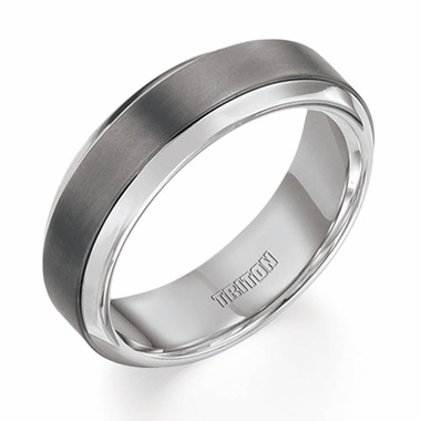 Triton 7mm Silver and Titanium Wedding Band