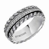 Triton 7mm Sterling Silver Diamonds Ring with Black Oxidation