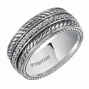 Triton 7mm Sterling Silver Diamonds Ring with Woven Design