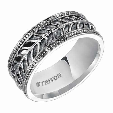 Triton 7mm Sterling Silver Ring with Milgrain and Black Oxidation