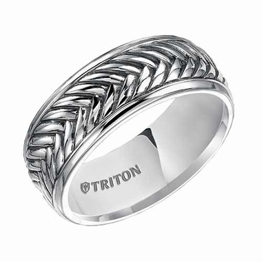Triton 7mm Sterling Silver Ring with Rims and Black Oxidation